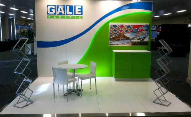 Exhibition stand with custom lighting